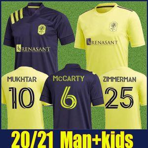 2020 내쉬빌 SC 축구 유니폼 20/21 MLS 내쉬빌하니 무크 타 ZIMMERMAN 홈 멀리 축구 셔츠 키즈 키트 enfants LEAL 맥카티 유니폼