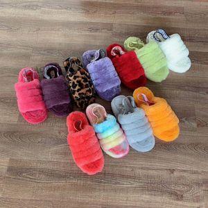 Frauen-Kind-Mädchen-Pelzstiefel Slipper Fluff Ja Slide Neon Gelb Blau FurSlipper Hausschuhe Mode Luxus Pantoufles de Designer Sandalen
