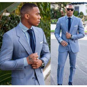 Light Blue Groom Tuxedos Customized Groomsmen Suit New Fashion 2 piezas Best Man Blazer trajes de boda para hombre (chaqueta + pantalones + corbata)