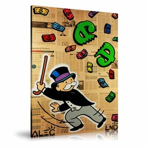 Alec Monopoly Beating $ Pinata,HD Canvas Printing New Home Decoration Art Painting (Unframed Framed)