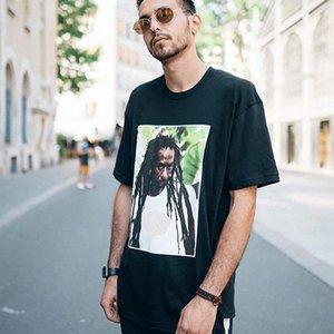 2020 Мужчины Футболки 19SS фотопечати Tee Рэпер Character Reggae с короткими рукавами хлопок Негабаритные Футболка Мода Хип-хоп женщин