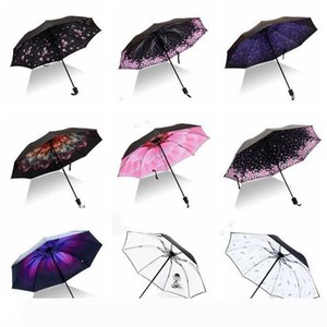 Impresión Parasol paraguas a prueba de viento grande plegable paraguas coloridos Tres plegado invertido flamenco 8Ribs suave regalo creativo LXL946-1