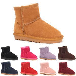UGG boots 2020 En Yeni Klasik kısa Çocuk kar çizme kız erkek kışlık botlar çocuklar botlar sığır derisi kış botları AB boyutu: 22-35