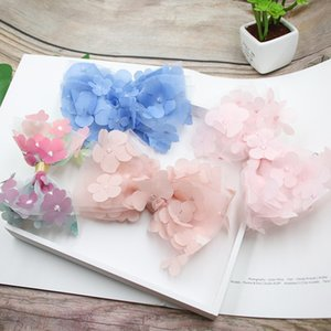 Beautiful 3D Hanging Flower Mesh Hair Bows Colorful Gradient Rainbow Color Hair Clip Princess Hairgrips Hairbow Accessories