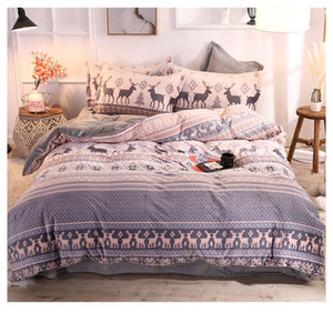 Coral velvet warm autumn and winter bedding suit Thicken Falais four-piece double-faced fleece bed sheet bedding set fitted and bed sheet