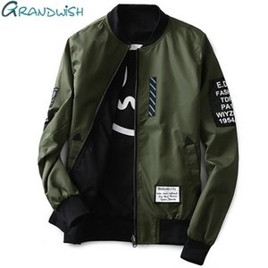 Letter Grandwish Bomber Jacket Men Pilot with Patches Green Both Side Wear Thin Pilot Bomber Jacket Men Wind Breaker Jacket Men Autumn