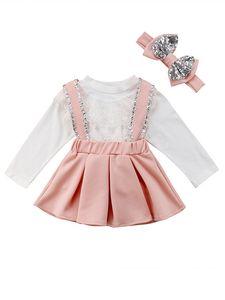 Девочки Одежда Set рубашка + рубашка Suspender юбка + блестки Bow оголовье 3 PCS Lace Boutique Ins осень с длинным рукавом