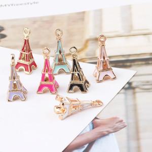 24 * 10mm émail Paris Tour Eiffel 3D charmes pour bracelet, alliage pendentifs en métal pour boucles d'oreilles faisant main diy jewerly