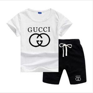 2020 Новая весна Luxury Logo Дизайнер мальчик девочка футболки Брюки дамский костюм Kids Brand Детские 2pcs Хлопок Одежда Наборы 2-7 Возраст
