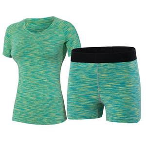 2 pezzi Set Yoga fitness stretti donne Wick lavoro in palestra vestiti pantaloncini da corsa di compressione Tute T-shirt Yoga Tuta sportiva