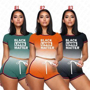 Summer Gradient Tracksuit BLACK LIVES MATTER Print Stripe Women Shorts Sets T-shirt Crop Top + Shorts 2 Piece Outfits Casual D62309