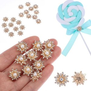 10Pcs Set 17MM Rhinestone Faux Pearl Snowflake Buttons Flatback Hairpin Decoration DIY Craft Apparel Sewing Accessories