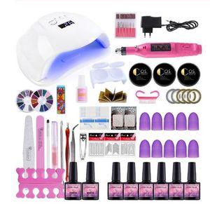COSCELIA acrilico Kit Nail Dryer lampada polacco del gel Con professionale del trivello del chiodo Manicure macchina 6pcs Kit Tools Colori polacco