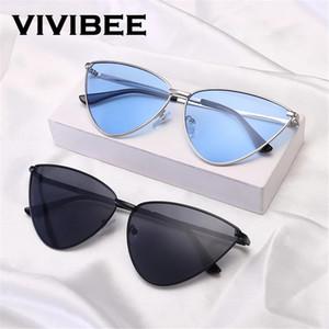 VIVIBEE Oceano Retro cor dos olhos Triângulo Sunglasses gato por Mulheres New 2019 Tendência colorido Vintage Sun Glasses