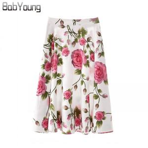 BabYoung 2019 floral del verano faldas bohemias de las mujeres hasta la rodilla de cintura alta falda corta plisada falda de la playa de moda de vacaciones Turismo