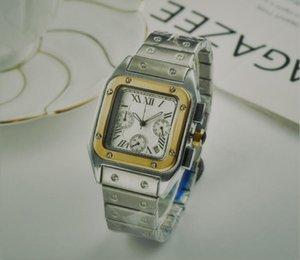 전체 기능 남성 광장 시계 제네바 정품 Hardlex 스테인레스 스틸 석영 배터리 시계 패션 남성 시계 남성 손목 시계 다이얼