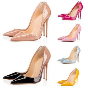 2020 mujeres del diseñador de moda de lujo de los zapatos de tacón alto de triple negro rosa nude pico amarillo para los fondos del banquete de boda señaló dedos de los pies de zapatos de vestir