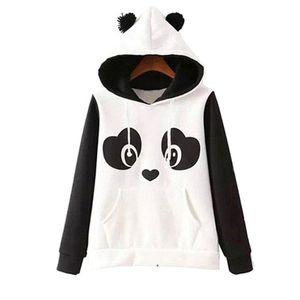 S -3xl lindo mezclado algodón mujeres 'S Panda Fleece Sudadera con capucha Sudaderas con capucha Escudo Tops caliente más nuevo