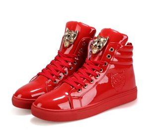 Cool Hommes Top Haut Hommes Or Glitter krasovki Sneakers Bling Plate-forme Flats Chaussures homme brillant vulcanisée tête Leopard Chaussures