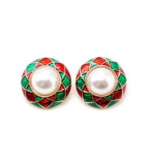 Free Shipping Sweet Mixed Colors Enamel Round Elegant Pearl Alloy Material Party Holiday Clip-on Cute Earring