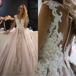 Luxus-Light Champagne A Line Brautkleider 2019 tiefer V-Ausschnitt Vestido de Noiva Spitze Plus Size Brautkleider Wedding