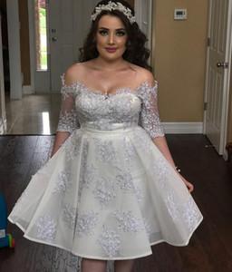 Silver Crystal Short Abiti Homecoming 2019 Off spalla Mezze maniche Appliques Beads Mini Prom Party Dress Studente Laurea usura a buon mercato