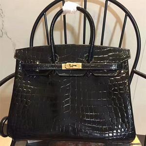 35 cm Brikin in pelle di coccodrillo platino con motivo copricapo da donna in pelle bovina classica H borsa famiglia tendenza moda donna