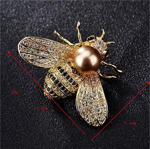 Mode nouveau cristal abeille broche accessoires féminins chaud-vente perle d'eau douce broche bourdon broche collier broche