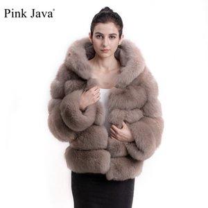 Rosa Java QC8143 2017 nueva mujeres de la llegada del invierno gruesa capa de piel chaqueta de piel real con sudaderas equipo del cuello de la capilla soporte