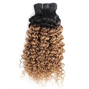 1B 27 Ombre Miel Rubia Onda de agua peruana Paquetes de armadura de cabello rizado Dos tonos 1 Paquetes 10-24 pulgadas Extensión de cabello humano de Malasia brasileña