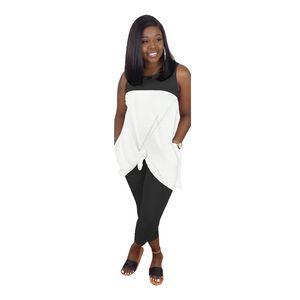 Patchwork manches Femmes Designer Survêtements été O cou maigre pantalon long long en vrac T-shirts Femmes 2PCS