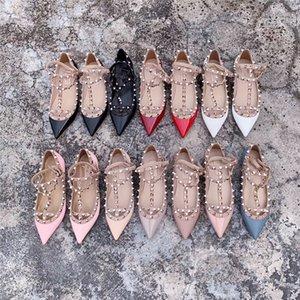 Luxus-Sale-Designer-Schuhe Sommer-Frauen-Pumpen Valentine hohen Absatz Schuhe 2020 Sexy Spitze Schuhe Nude Art und Weise Hochzeit Nieten Stud Sandalen