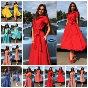 Im europäischen Stil fester Revers kurzärmelige Bauchgurt Einreiher Kleider rosa, gelb, rot, grün, blau Unterstützung gemischte Charge