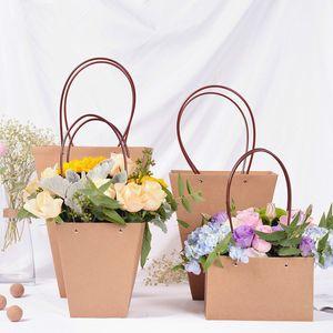 Saco De Papel marrom Flowerpot Shop Material de Embalagem Fresco Plant Flower Carrier Sacos À Prova D 'Água Personalizar Tratar Saco de Presente para o Partido Por Atacado