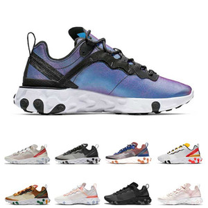 New React Element 87 55 running shoes mens white black Black women breathable sports sneaker size 36-45