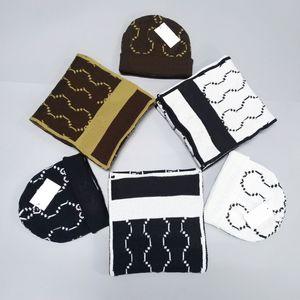 3 colori di alta qualità degli uomini di marca Beanie Donne progettista Hat Sciarpe serie di riscaldamento European High-end di lusso Hat inverno caldo sciarpa 2 piece set
