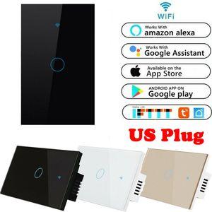 US Plug 1 Gang Smart Touch Light Switch WiFi RF APP Télécommande pour iOS Alexa