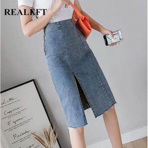 REALEFT 2020 New Denim gaine Wrap Jupes Printemps Eté taille haute Crayon Jupe mi-longue fendus Zipper Chic Jupes Femmes