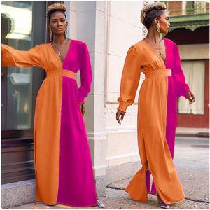 Autumn Womens Designer Dress Sexy Contrast Color Printed V Neck Split Maxi Dress Casual Women Clothing