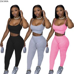 Women Two Pieces Sets Sport Solid Tracksuits Tank Tops Jogger Sweatpants Suit Fitness Night Club 2 Pcs Outfit