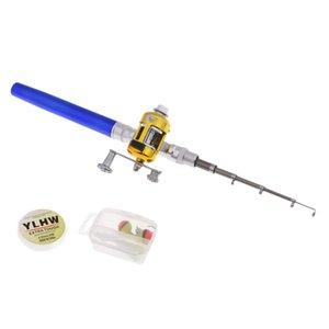 Pen Fishing Rod Reel Combo Set Telescopic Pocket Fishing Rod Aluminum Alloy Fishing Line Soft Lures
