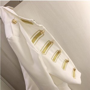 Fashion-Harajuku Stripe Short jacket Embroidery Shirt Slim Double Breasted Blazers For Ladies White Blazer coats