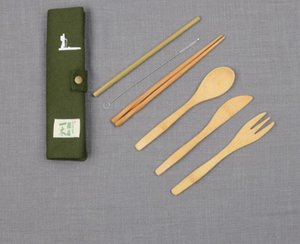 DHL Dinnerware Set 6Pcs Set with bag Bamboo spoon Fork Knife chopstick straw brush Cutlery Set Kitchen portable Utensil Kitchen Cooking nt