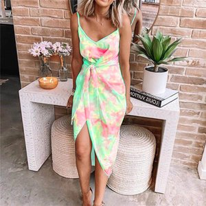 Spaghetti Strap Dress donne sexy delle donne Tie Dye Irregolare Summer Dress Bow Scollo a V Backless Moda vestiti casuali