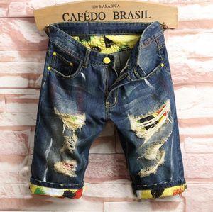 Neue Art und Weise Männer Jeans-dünne Knielänge Denim Jeans Zerrissene beiläufige Hosen Homme Hose männlich Loch-Jeans