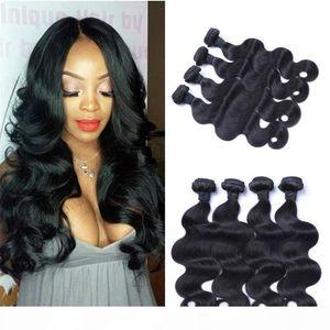 Body Wave Human Hair Bundles Unprocessed Indian Virgin Hair Double Weft Natural Color 4 pcs FDSHINE