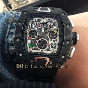 relógios RM11-03 NTPT Carbon Fiber Caso Relógios Designer relógio automático movimento cristal de importação carbono borracha fibra alça de Luxo Mens