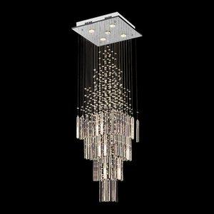 Modern Chandelier Colunar Lâmpada de cristal com base quadrada de suspensão Iluminação para sala de estar sala de jantar escada