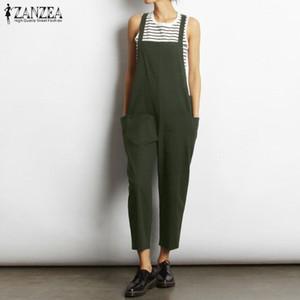 Tallas grandes Correas Mamelucos Monos de mujer Monos 2019 ZANZEA Pantalones de lino de verano vintage Pantalon Combinaison Femme Playsuits