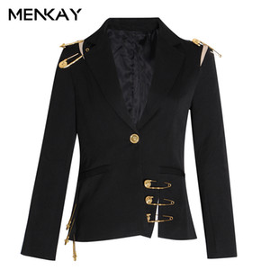 Hollow Out Patchwork Lace Up Femenino Blazer con muescas de manga larga Slim Elegant Female Traje 2019 Otoño Moda Nuevo